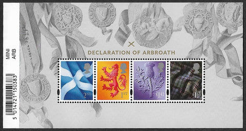 2020 Declaration of Arbroath u/m mnh stamp miniature sheet
