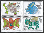 2019 Positively Postal The Magical Animal Postal Service Artistamps x 4 block