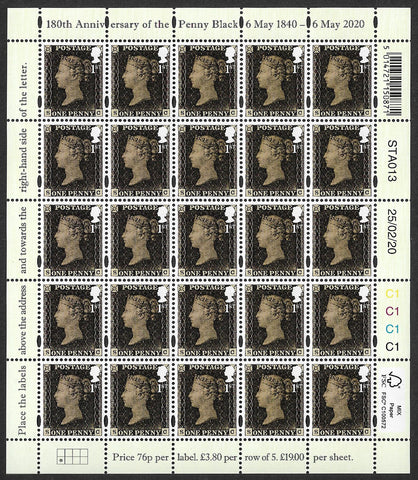 180th Anniversary of the Penny Black stamp sheet