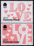 2017 Positively Postal Valentine's Day Artistamps x 2