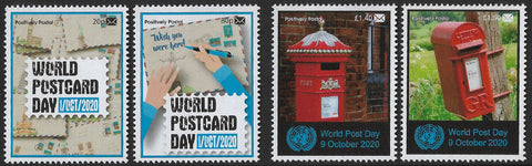 2020 Positively Postal World Postcard Day and World Post Day Artistamps x 4