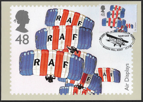 2008 Air Displays 48p Red Falcons Parachute Team stamp PHQ maxi card