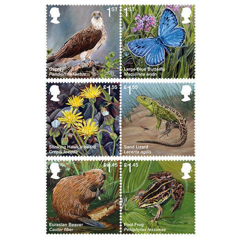 Reintroduced Species Mint Stamps