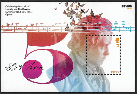 2020 Jersey Celebrating the music of Beethoven u/m mnh stamp miniature sheet