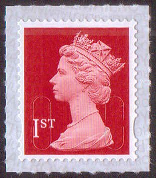1st class u/m bright scarlet M17L machin stamp SG U2998 Security Backing Paper