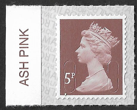 5p u/m dull red-brown M17L machin stamp SG U2922 with Royal Mail Ash Pink colour tab