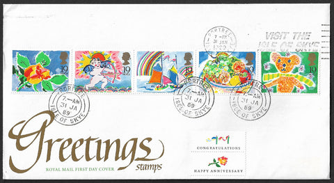 GB 1989 Greetings stamp First Day Cover with Portree Skye postmarks