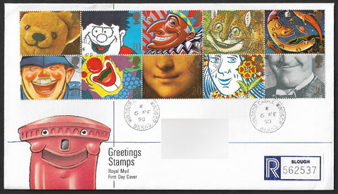 GB 1990 Greetings Stamps Registered First Day Cover