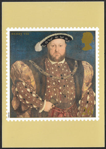 GB 1997  The Great Tudor King Henry VIII stamp PHQ maxi cards x 7