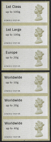 GB 2013 Post and Go u/m mnh stamps x 6 Machin Heads Type II SG FS1a/3a,4a,5a,5e