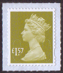 £1.57 u/m yellow-olive M17L machin stamp no source code plain backing paper SG U2948