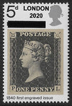GB 1970 Penny Black Philympia u/m 5d stamp with London 2020 overprint