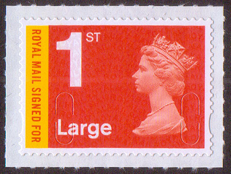 Royal Mail Signed For 1st class Large bright orange-red MA13 machin stamp SG U3050