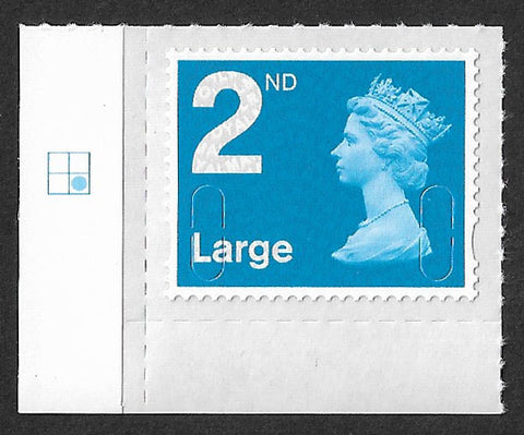 2nd class Large u/m bright blue M15L machin stamp SG U3000 with plate position.