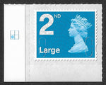 2nd class Large u/m bright blue M16L machin stamp SG U3000 with plate position.