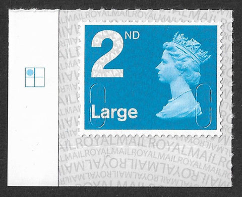 2nd class Large u/m bright blue M17L machin stamp SG U3000 SPB Ls with plate position