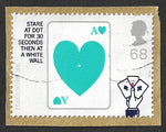 GB 2005 Centenary of the Magic Circle 68p Card Trick stamp used.