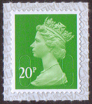 20p u/m bright green M17L machin stamp no source code security backing paper SG U2924