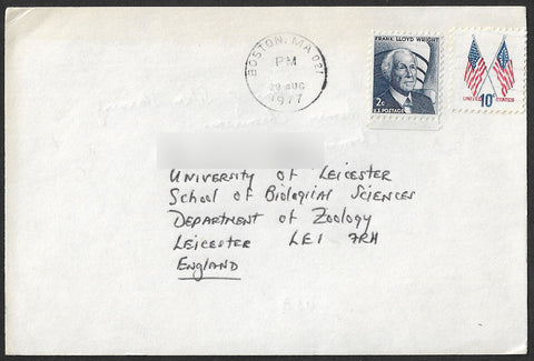 1977 Commercial card sent from Boston USA to University of Leicester U.K.