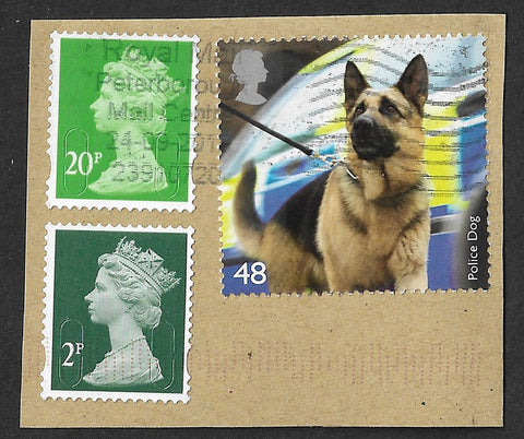 GB 2008 Working Dogs 48p stamp with 20p and 2p stamps used on piece