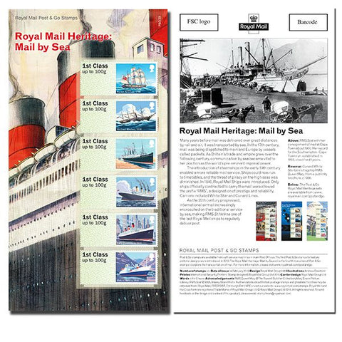 Royal Mail Heritage Mail by Sea Post & Go Stamp Set