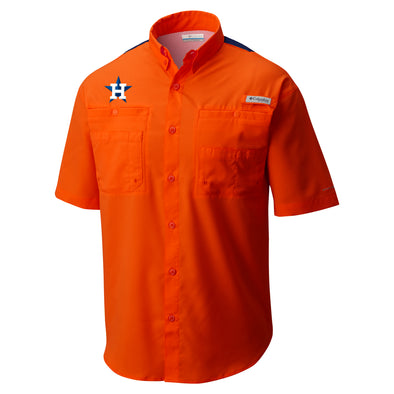 Houston Astros Men's Columbia Color Block Fishing Shirt