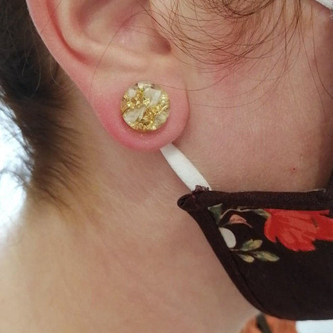 ox eye daisy petal and gold flake resin ear plugs review