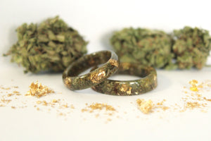 cannabis and gold flake rings