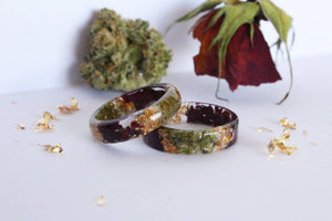 cannabis rose and gold flake resin ring