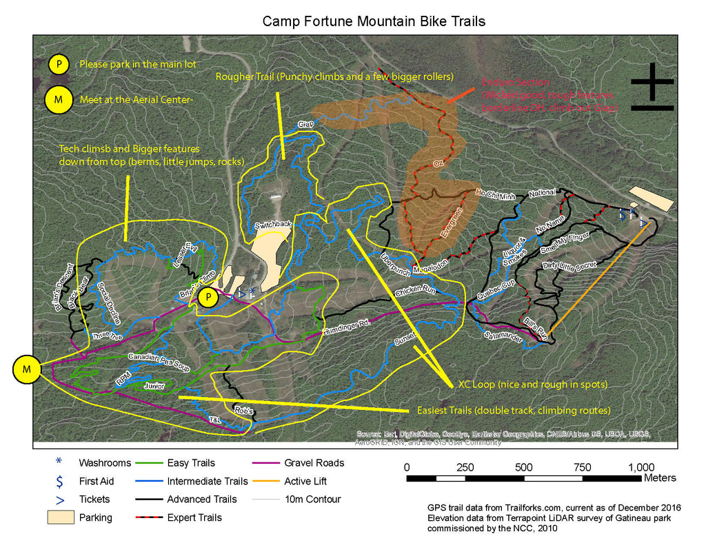 Camp Fortune MTB Trails 2017 General Description of Difficulty