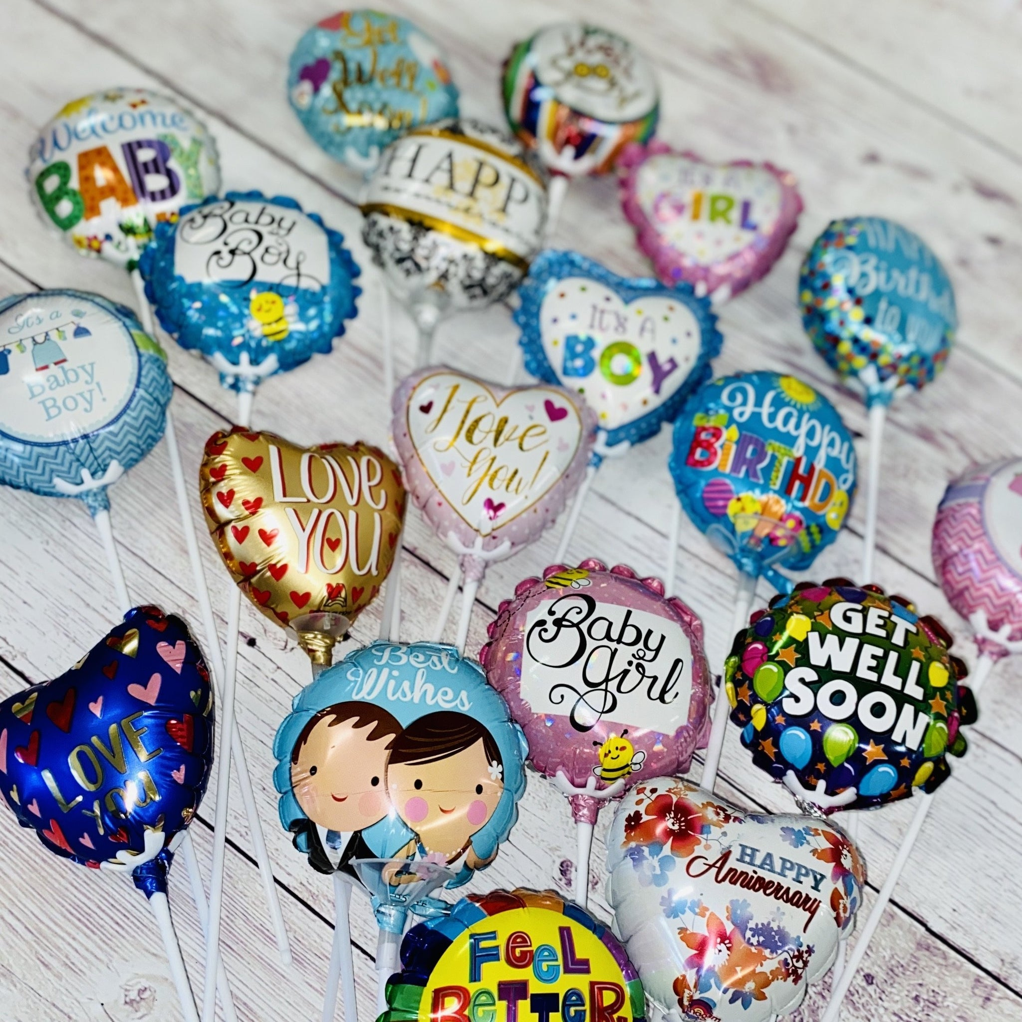 Cute Balloon Picks worded for your occasion, Happy Birthday, Get Well, Its a Boy, Its a Girl, Love, I love you, Happy Anniversary. 10cm Face
