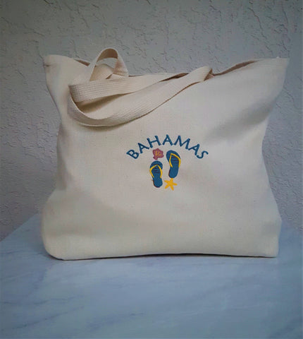 Tote Bag with Flip Flop Design