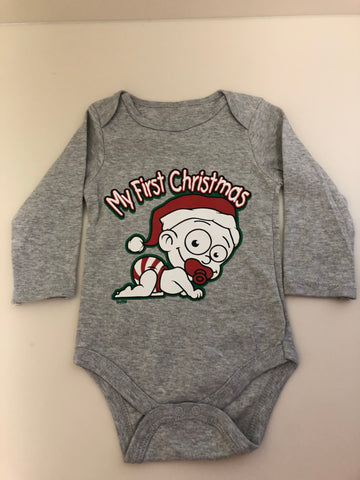 Rabbit Skins™ Infant Long Sleeve Baby Rib Bodysuit - My First Christmas