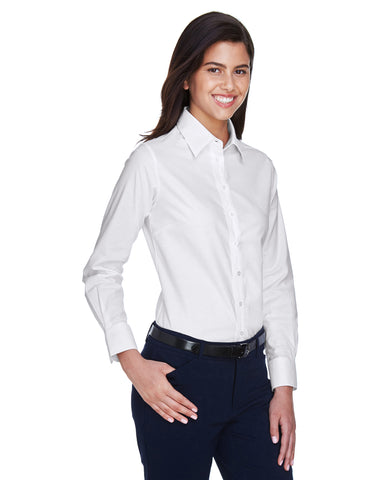 Harriton Ladies' Long-Sleeve Oxford with Stain-Release (with logo)