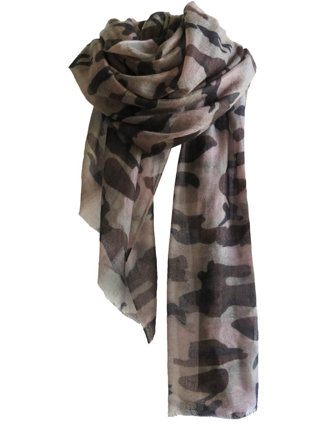 D/Luca Camouflage Shades of Grey - Fine Cashmere Scarf