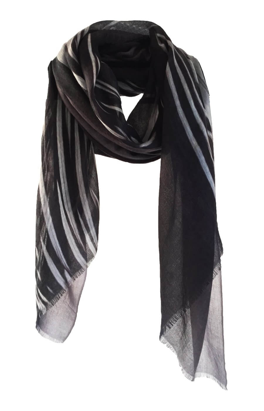 D/Luca Feather Chrome Black - Fine Cashmere Scarf