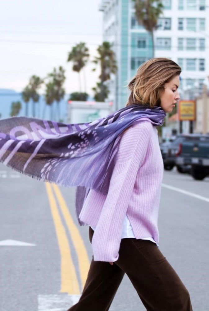 Feather Lilac - Fine Wool Silk Scarf