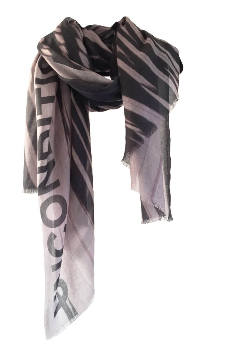 D/Luca Feather Sand Black - Fine Cashmere Scarf