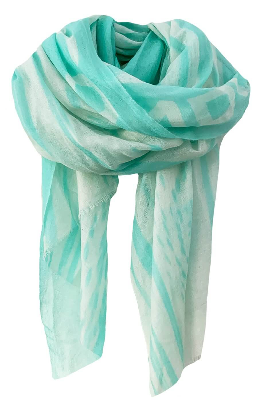 D/Luca Feather Unconditional Aqua - Fine Cashmere Scarf