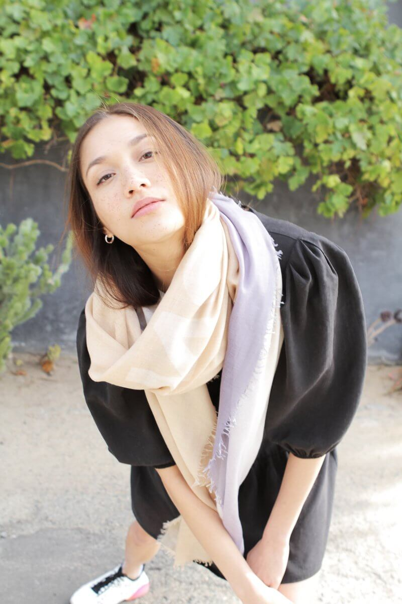 D/Luca Sanctuary Shades of Sand and Grey - Fine Silk Cashmere Scarf