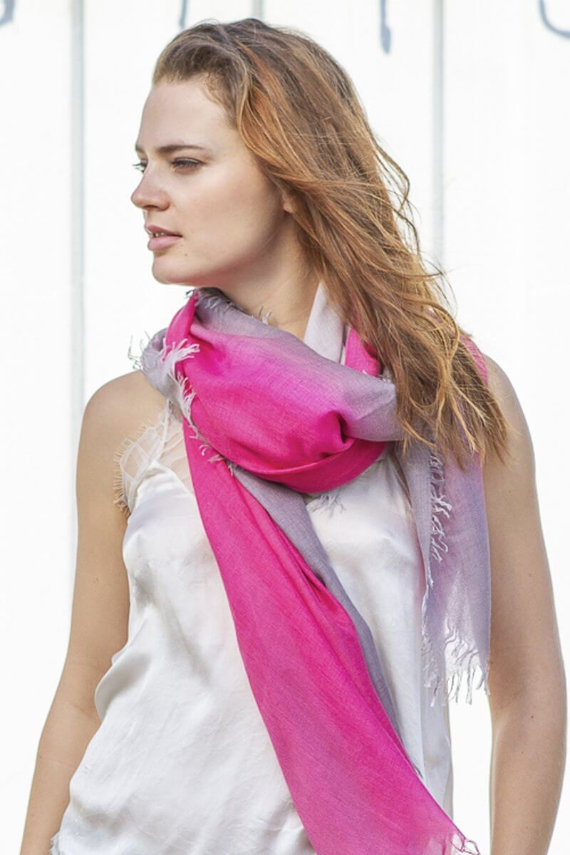 D/Luca Sanctuary Shades of Pink and Grey - Fine Silk Cashmere Scarf