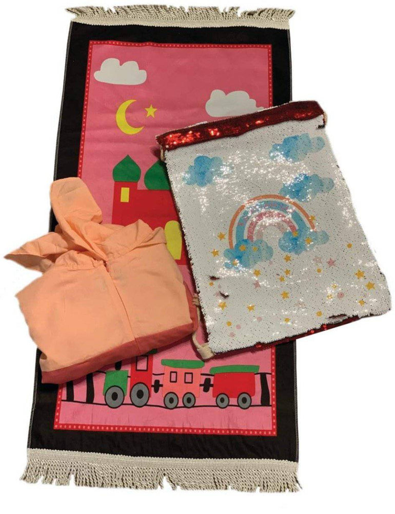 Girls Prayer Set Peach/Fuchsia