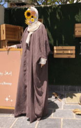 Brown Abaya with Dark Beige Veil
