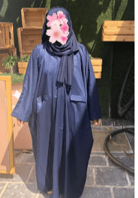 Blue Abaya with Dark Blue Veil typeX