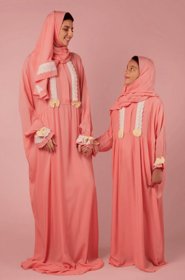 Girls Prayer Veil Peach Dots - FathakirrStore