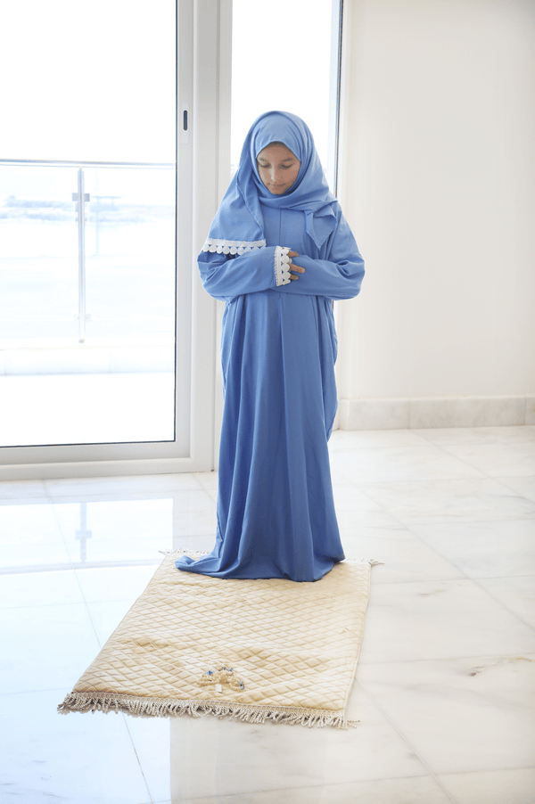 Girls Prayer Wear Crochet Electric Blue - FathakirrStore