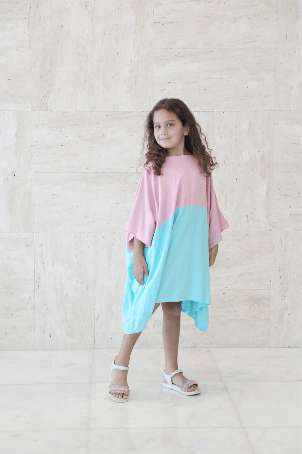 Girl's Half Color Midi Dress - FathakirrStore