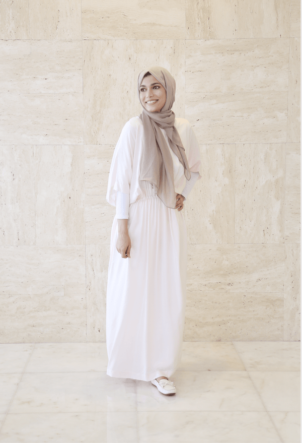 Women's Long Off White Dress - FathakirrStore