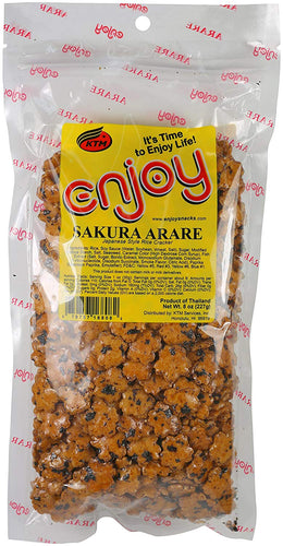 Enjoy Sakura Arare Rice Crackers, 8 Ounce - Alii Snack Company