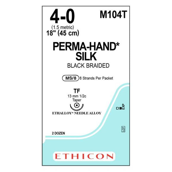 Suture 4-0 Silk TF Perma-Hand Black 8x18